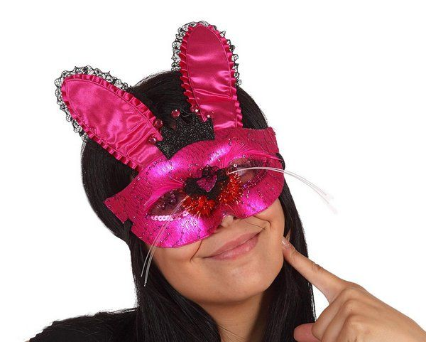 Party Mask Pink with Ears & Nose Panther Mouse Jungle Book Day Animal Cat Feline