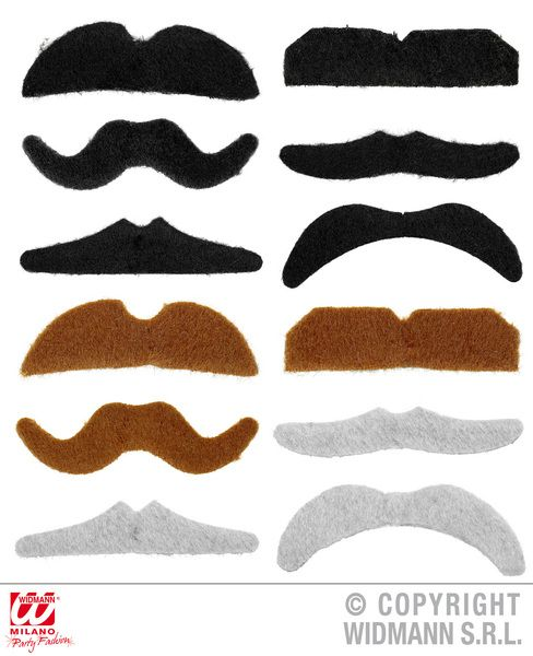 Party Moustaches Mixed Colss Set Of 12 Cowboy Wild West Usa Rodeo Dallas Farmer