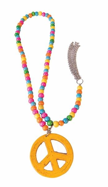 New Hippie Necklace Earring Peace Sign 60s 70s Fancy Dress Accesories