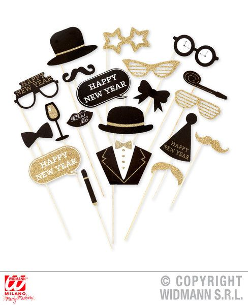 Photo Booth New Year's Eve Accessories 20 Pcs In Window Box Fancy Dress