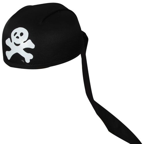 Pirate Bandana Skull & Bones Print Hat Outfit accessory for Nautical Fancy Dress