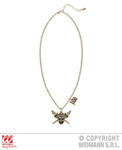 Pirate Captain Skull & Cross Swords Necklace W/ Pirate Fla High Seas Buccaneer