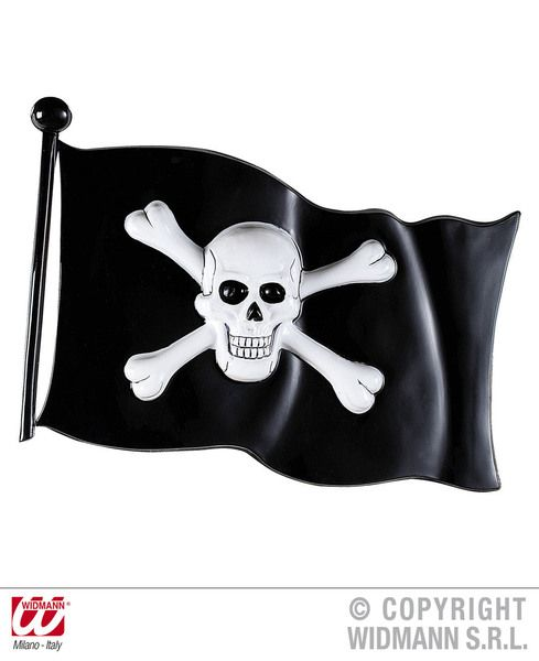 Pirate Flag Plastic 45X32cm Decoration High Seas Buccaneer Hijacker Sailor Party