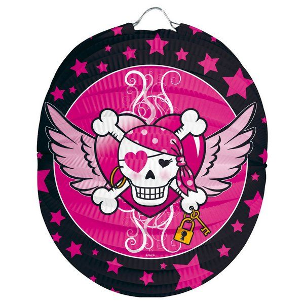 Pirate Girl Party Lantern 22cm High Seas Buccaneer Hijacker Sailor