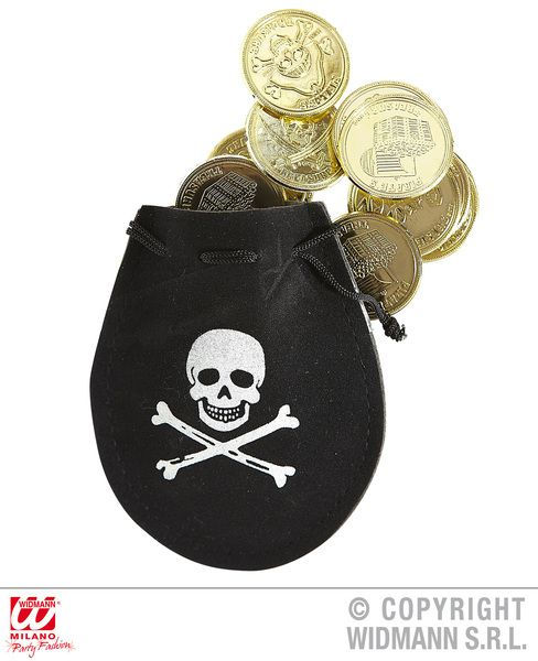 Pirate Pouch W/ Doubloons High Seas Buccaneer Hijacker Sailor Fancy Dress