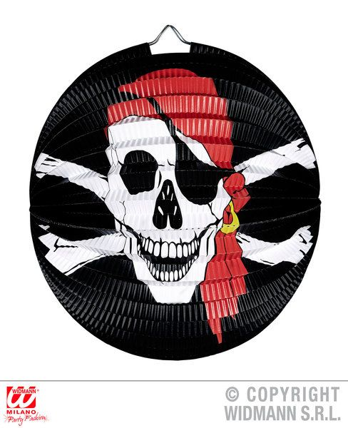 Pirate Skull & Cross Bones Lampion Ø 25cm High Seas Buccaneer Hijacker Sailor