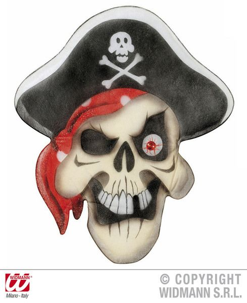 Pirate Skull Wall S 48X56cm Decoration High Seas Buccaneer Hijacker Sailor Party