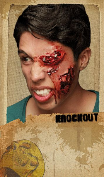 Prosthetic SFX Makeup Wound Knockout Halloween