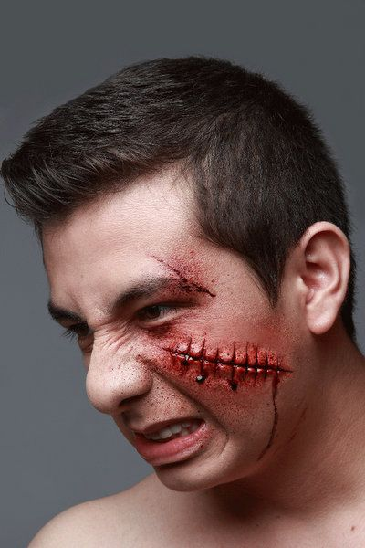 Prosthetic SFX Makeup Wounds Failed Stitches Halloween