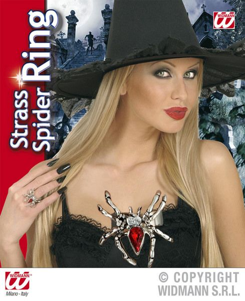 Spider Rings W/Red Gem & Strass Halloween Bug Trick Or Treat