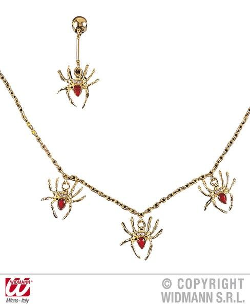 Spiderlady Set Necklace Earring Halloween Spider Witch