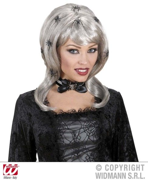 Spiderlady Wig With Spiders In Polybag Halloween Spider Witch Fancy Dress