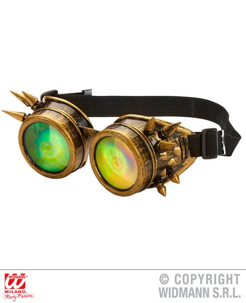Spiked Steampunk Goggles with Holographic Eyes Steam Punk Fancy Dress