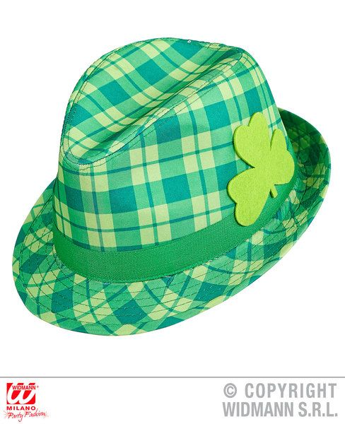 St. Patrick Fedora Checkered Hat 80s 60s 50s Blues Bros Rockabilly Party