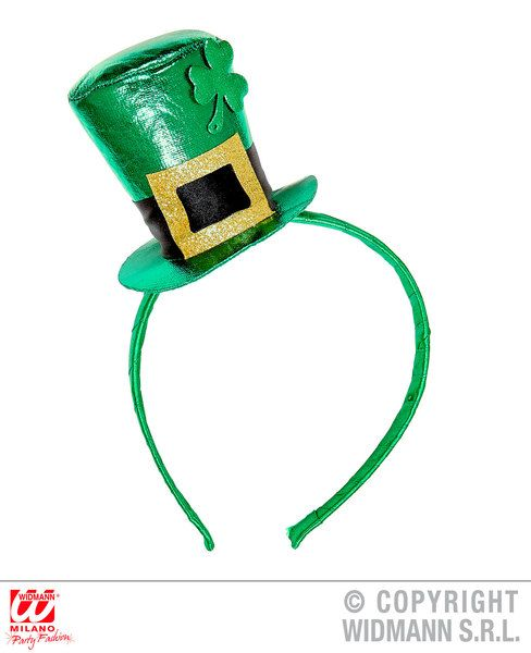 St. Patrick'S Day Metallic Mini Top Hat On Headband St Patricks Irish Ireland