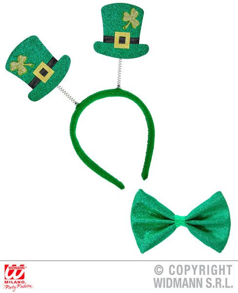 St. Patrick'S Day Set Glitter Mini Top Hat H/Bopper & Bowtie St Patricks Irish
