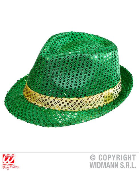St. Patrick Sequined Fedora Hat 80s 60s 50s Blues Bros Rockabilly Party