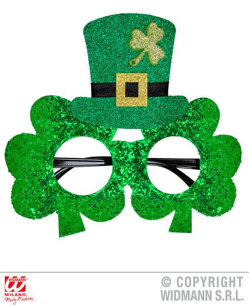 St.Patrick'S Day Glitter Shamrock Glasses W/Mini Top Hat Lucky Irish Cosmetics