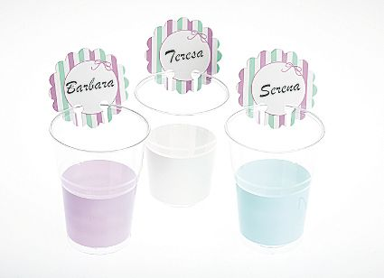 Stripe Birthday Party BBQ Disposable Cups or Glass Markers 12's Bon Ton