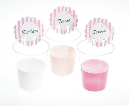 Stripe Birthday Party BBQ Disposable Cups or Glass Markers 12's Pink