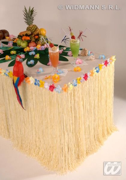Table Skirt Tropical With Flowers 275X75 Hawaiian Exotic Pool Fancy Dress