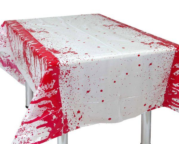 Tablecover Bloody on White 136x265cm Vampire Zombie Bleeding