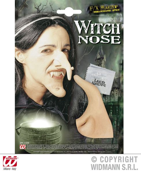 Theatrical Witch Nose W/Adhesive Halloween Wicked Villian Fancy Dress