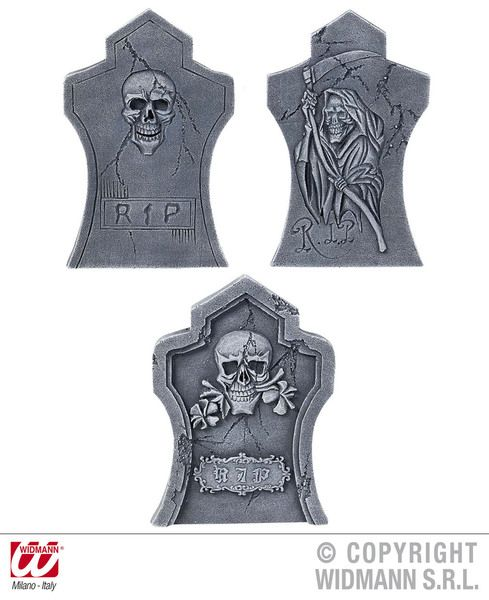 Tombstones Pk 3 Asstd 50cm Party Decoration Halloween Graveyard Cemetary Crypt