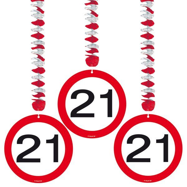 Traffic Sign 21st Party Hanging Decor 3 Birthday Decoration