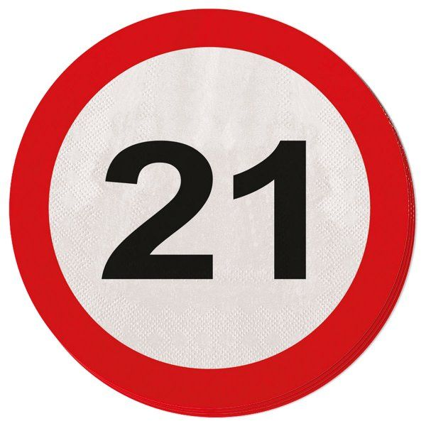 Traffic Sign 21st Party Napkins 20s Birthday Tableware Table Disposables