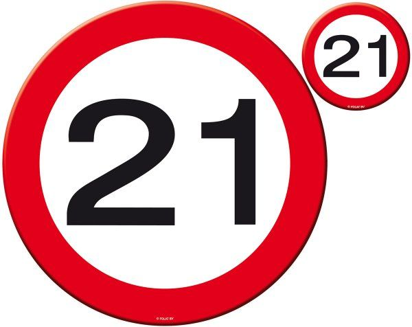 Traffic Sign 21st Party Place Mat & Coasters Birthday Tableware Table Disposable
