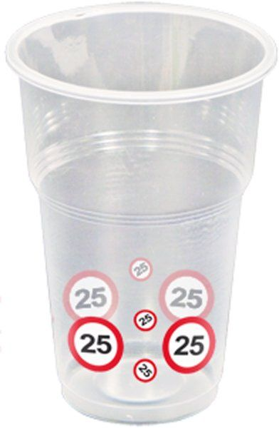 Traffic Sign 25th Party Cups 10s Birthday Tableware Table Disposables