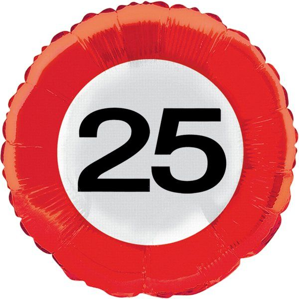 Traffic Sign 25th Party Foil Balloon Packet Helium Decoration
