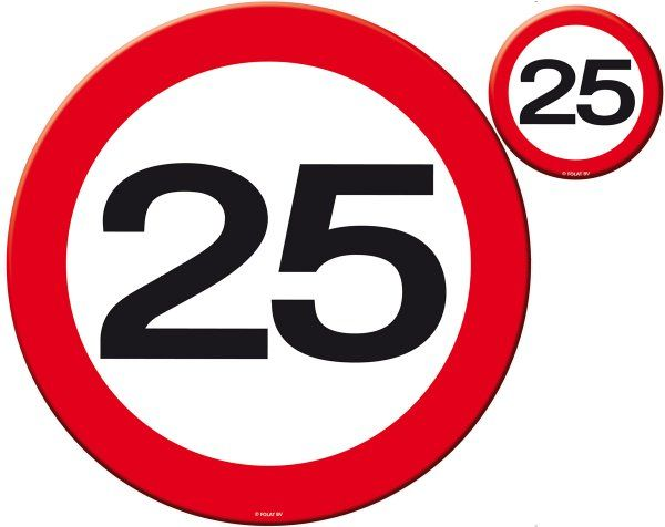 Traffic Sign 25th Party Place Mat & Coasters Birthday Tableware Table Disposable
