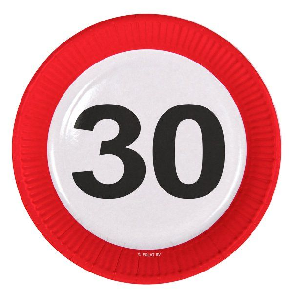 Traffic Sign 30th Party Plates 23cm 8's Birthday Tableware Table Disposable