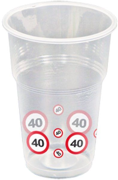 Traffic Sign 40th Party Cups 10s Birthday Tableware Table Disposable
