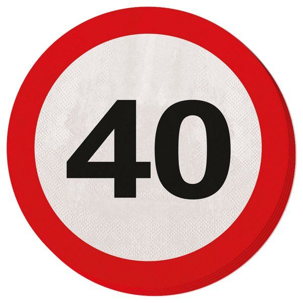 Traffic Sign 40th Party Napkins 20s Birthday Tableware Table Disposable