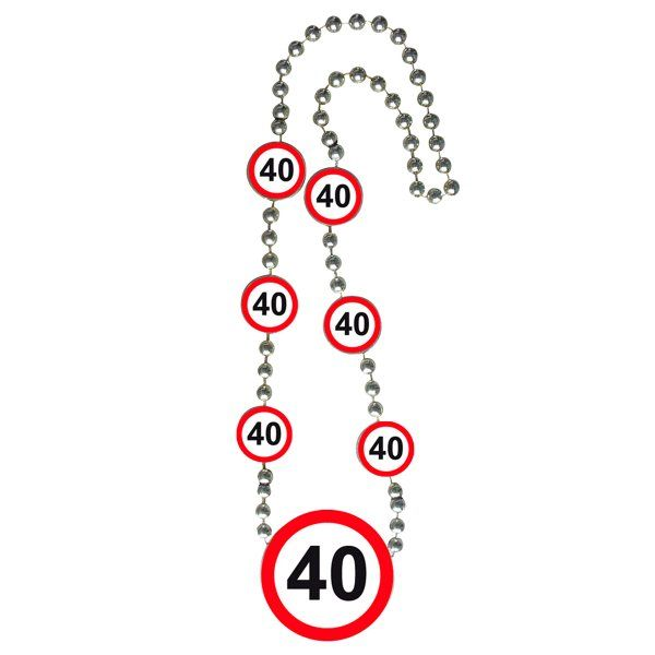 Traffic Sign 40th Party Necklace Birthday Novelty Gift Favour Favor