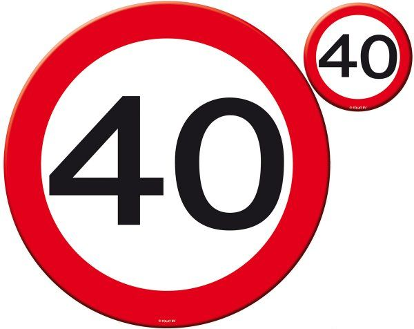 Traffic Sign 40th Party Place Mat & Coasters Birthday Tableware Table Disposable