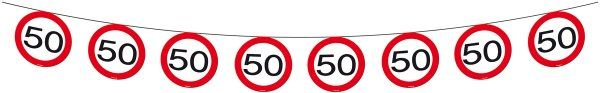 Traffic Sign 50th Party Banner 12M Birthday Decoration