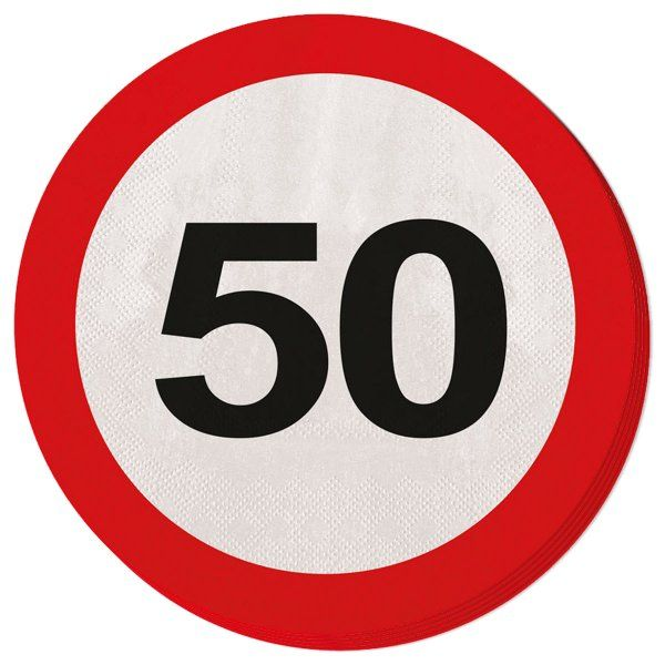 Traffic Sign 50th Party Napkins 20s Birthday Tableware Table Disposable