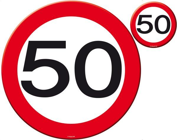Traffic Sign 50th Party Place Mat & Coasters Birthday Disposable Tableware