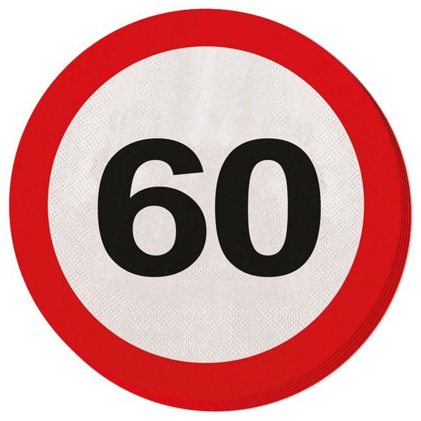 Traffic Sign 60th Party Napkins 20s Birthday Tableware Table Disposable