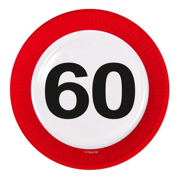 Traffic Sign 60th Party Plates 23cm 8's Birthday Tableware Table Disposable