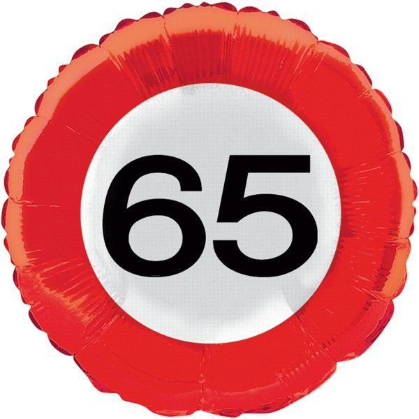 Traffic Sign 65th Party Foil Balloon Packet Birthday Decoration