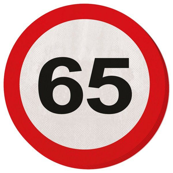 Traffic Sign 65th Party Napkins 20s Birthday Tableware Table Disposable