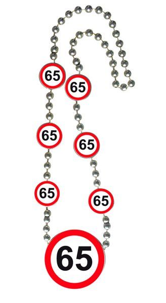 Traffic Sign 65th Party Necklace Birthday Novelty Gift Favor Favour