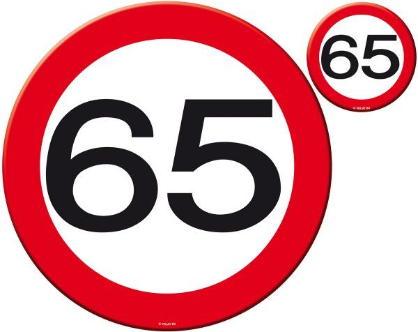 Traffic Sign 65th Party Place Mat & Coasters Birthday Tableware Table Disposable