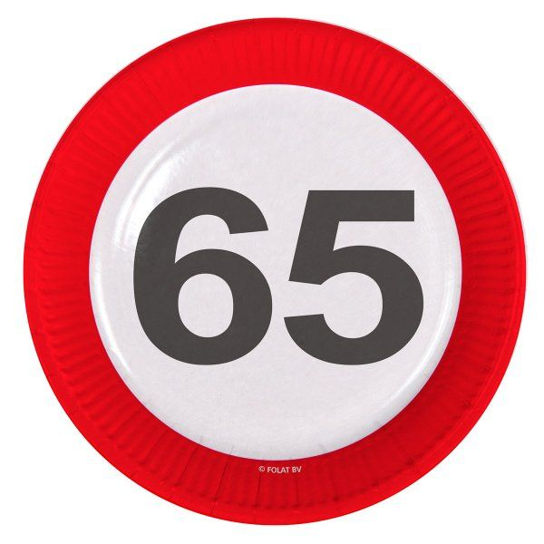 Traffic Sign 65th Party Plates 23cm 8's Birthday Tableware Table Disposable