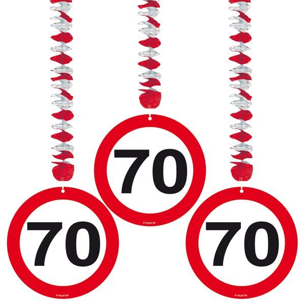 Traffic Sign 70th Party Hanging Decor 3 Birthday Decoration